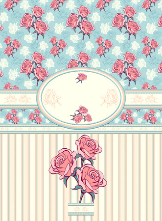 Retro floral frame with roses seamless pattern on blue background Vector