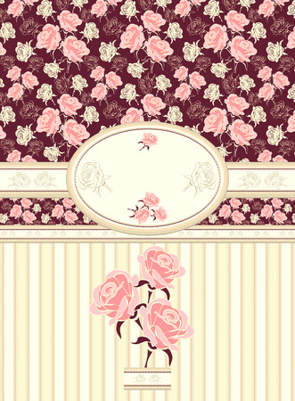 Retro floral frame with roses seamless pattern on dark background