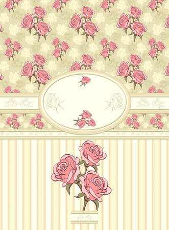 Retro floral frame with roses seamless pattern on olive background Vector