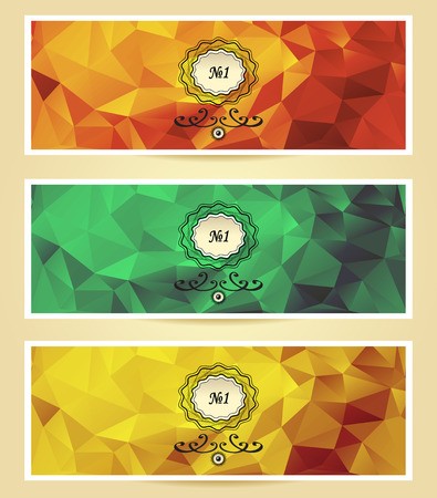 on decorate mobile telephone:  Abstract triangle banners  red yellow gold green color