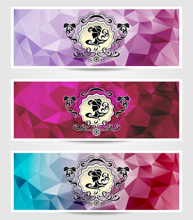 on decorate mobile telephone: Abstract triangle banners  with girl frame  in blue lilac pink colors