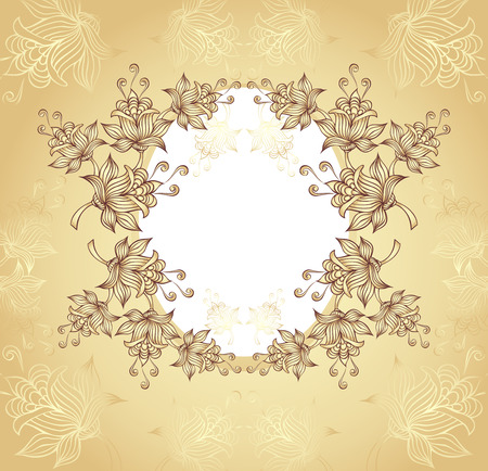 Frame with abstract flowers on gold background Vector
