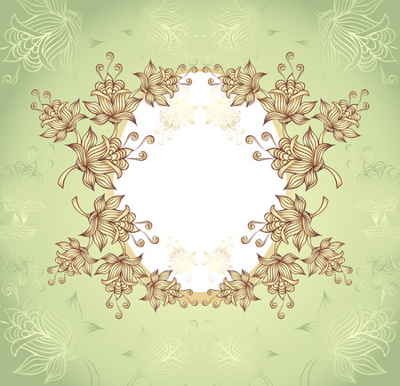 Frame with abstract flowers on green background Vector
