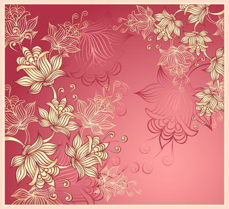 Background with abstract flowers on pink Vector
