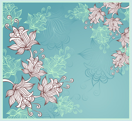 Background with abstract flowers on blue background Vector