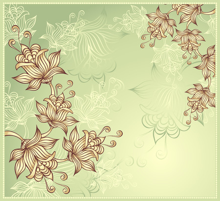 Background with abstract flowers on green background Vector