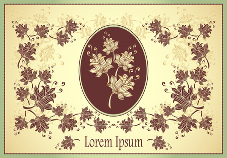 Floral frame or label with abstract flowers on beige background for advertising something Vector