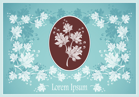 Floral frame or label with abstract flowers on blue background for advertising something Vector