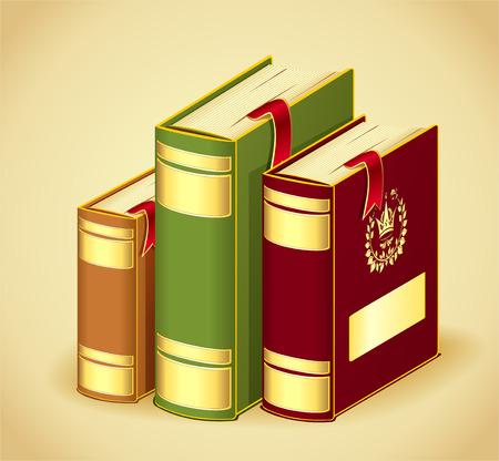 rojo oscuro: Libros de oro rojo los colores verde oscuro con marcadores para la educaci�n concepto o icono Vectores