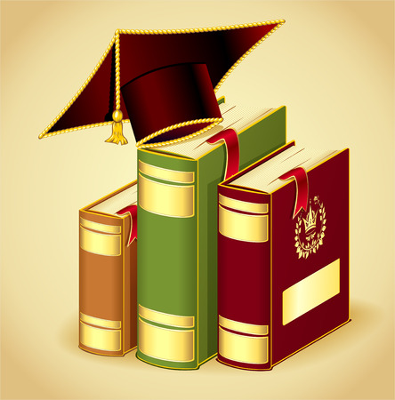 law library: Books gold dark red green colors with Graduation cap concept education