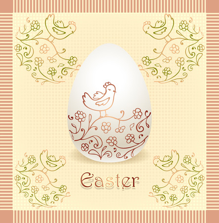 Easter egg with hand drawing bird flowers in style naive art  beige color