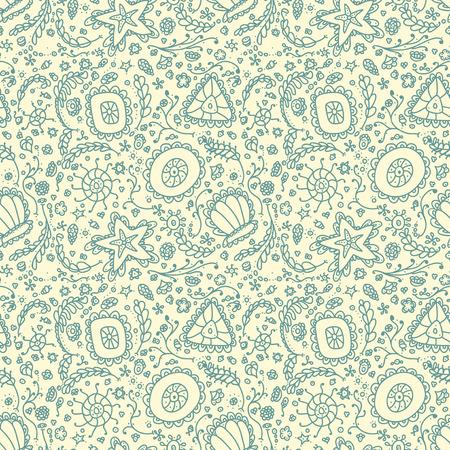 plancton: Patrón transparente hecho a mano o de fondo con protozoos abstracto o plancton abstracto Vectores