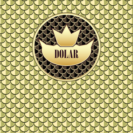 Background  with seamless pattern  fish scale crown gold olive for advertising  something Vector