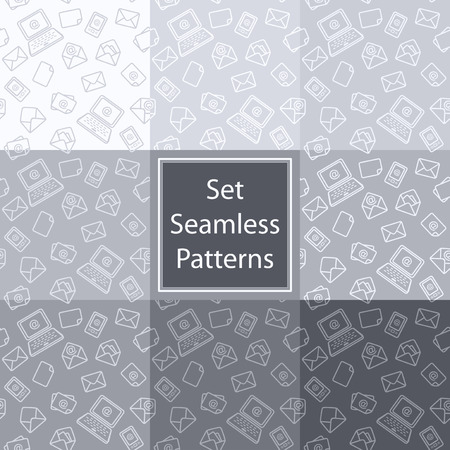 Set seamless patterns in grey colors with email notebook mobile telephone letter envelope symbol email  Vector