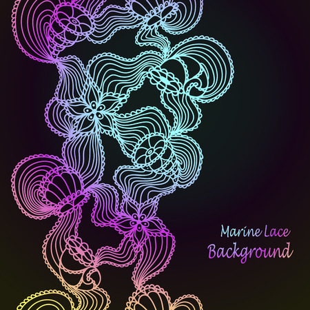 Background with Seamless abstract marine lace seashells, starfish, sea flowers, coelenterates  Vector