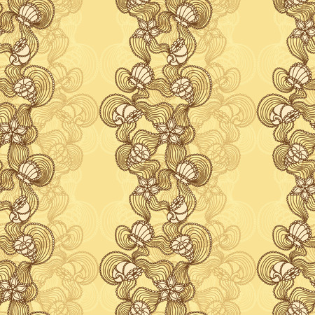 Seamless abstract marine lace with seashells, starfish, sea flowers, coelenterates brown on beige background Vector