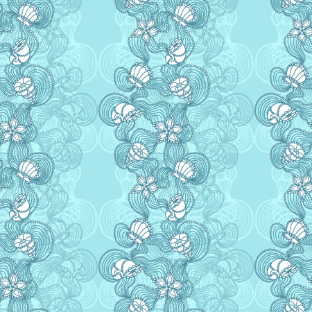 Seamless abstract marine lace with seashells, starfish, sea flowers, coelenterates blue on light blue background Vector