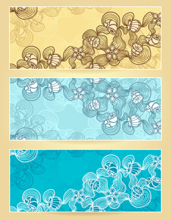 decorate mobile telephone: Set banners abstract  marine lace with seashells, starfish, sea flowers, coelenterates in blue beige colors  Illustration