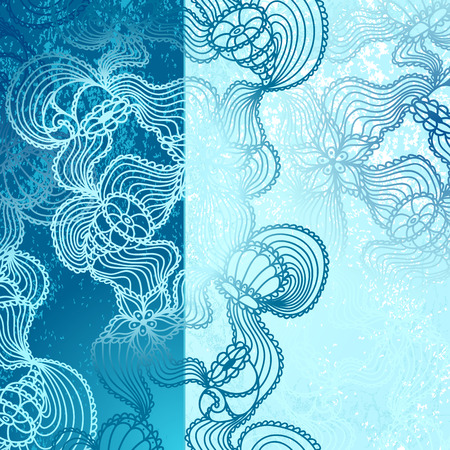 on decorate mobile telephone: Background with  abstract marine lace seashells, starfish, sea flowers, coelenterates in blue colors