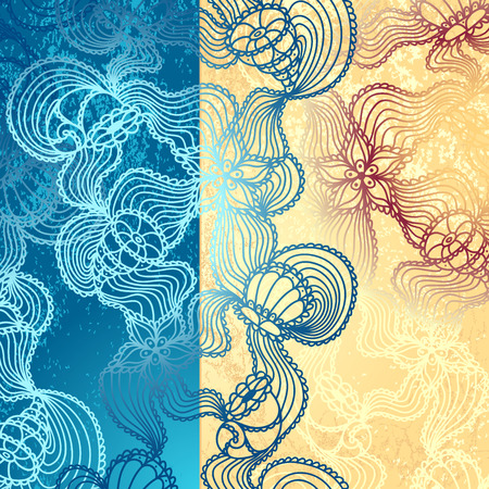 Background with  abstract marine lace seashells, starfish, sea flowers, coelenterates in blue beige colors Vector