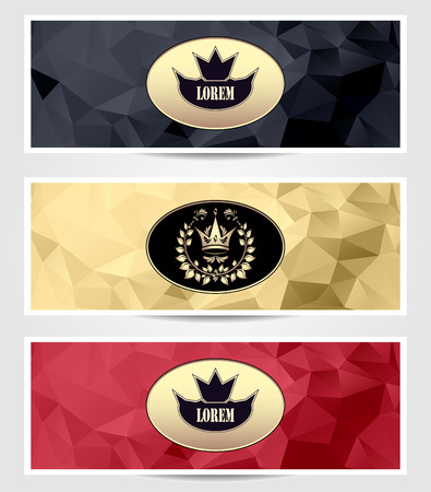 Set Abstract Royal triangle banners in  black red gold color for advertising something Illustration