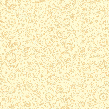 protozoa: Handmade seamless pattern or background with abstract marine word in beige yellow colors Illustration