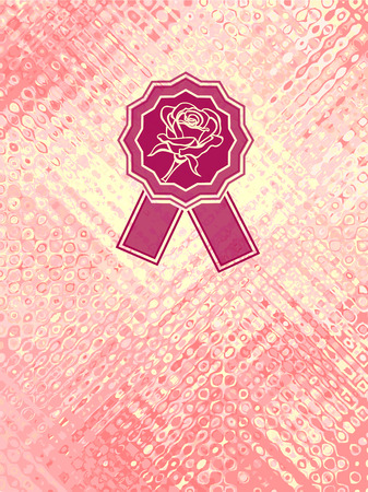 Background with abstract texture and rose emblem in pink yellow colors  Vector