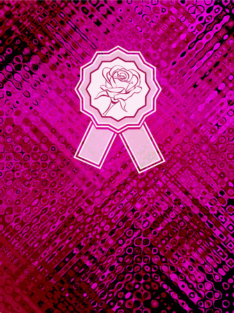 Background with abstract texture and rose emblem in magenta burgundy colors  Vector