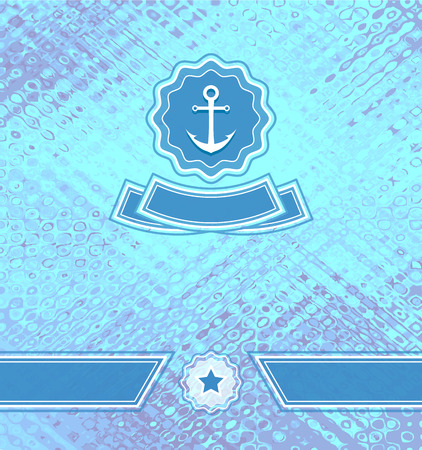 decorate mobile telephone: Background with abstract texture and marine emblem in blue cyan  colors