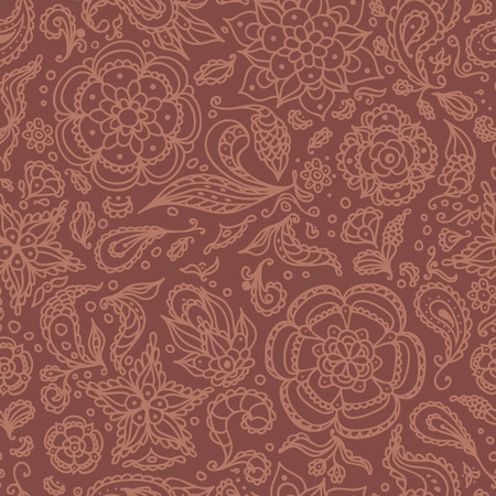 Seamless abstract floral pattern with flowers, petals, leaves, seeds, plants or brown background Vector
