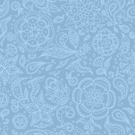 Seamless abstract floral pattern with flowers, petals, leaves, seeds, plants or pastel blue background Vector