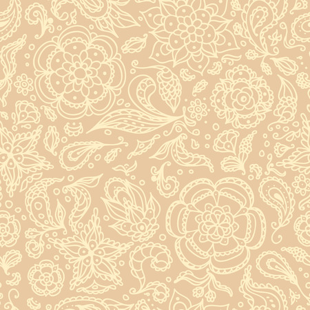 Seamless abstract floral pattern with flowers, petals, leaves, seeds, plants or beige background Vector