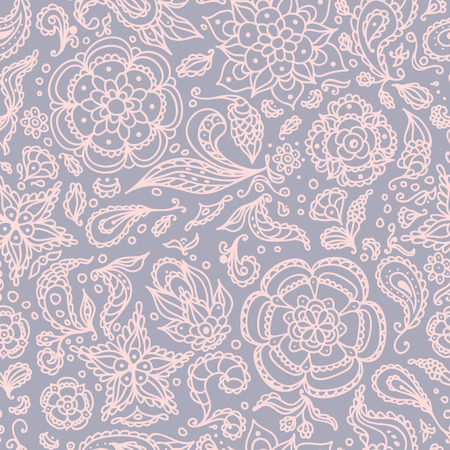 Seamless abstract floral pattern with flowers, petals, leaves, seeds, plants or pastel pink grey background Vector