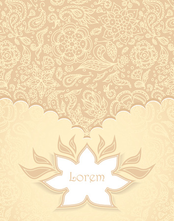 Frame with Seamless abstract floral pattern, flowers, petals, leaves, seeds, plants in beige gold  Vector
