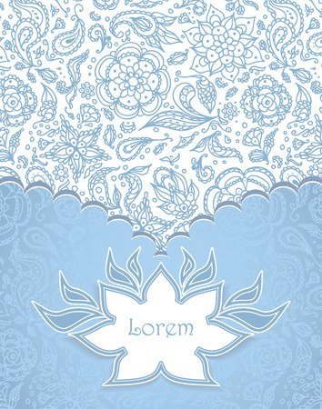 Frame with Seamless abstract floral pattern, flowers, petals, leaves, seeds, plants in blue white Vector
