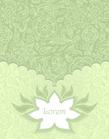 on decorate mobile telephone: Frame with Seamless abstract floral pattern,  flowers, petals, leaves, seeds, plants in green background