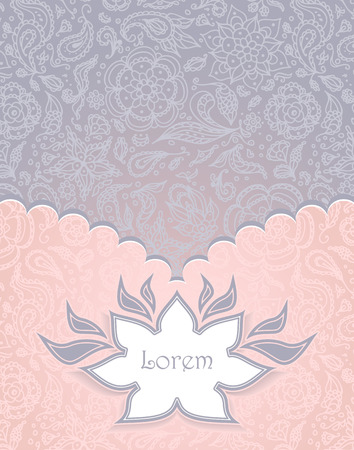 Frame with Seamless abstract floral pattern, flowers, petals, leaves, seeds, plants in pastel pink grey background Vector