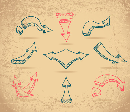 Set Sketch arrows on beige grunge background Vector