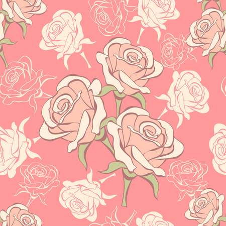 Seamless pattern with vanilla roses on pink background Vector
