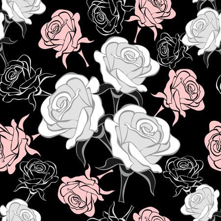 Seamless pattern with grey pink  roses on white background Vector