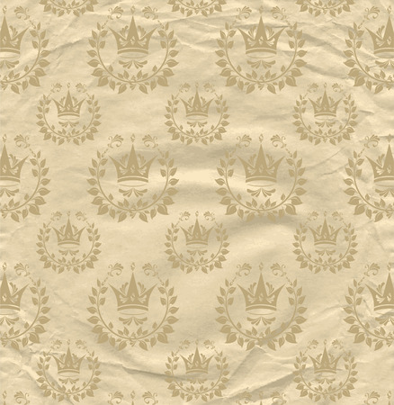 grown: Background from grown old crumpled newspaper scrap and pattern beige color Illustration