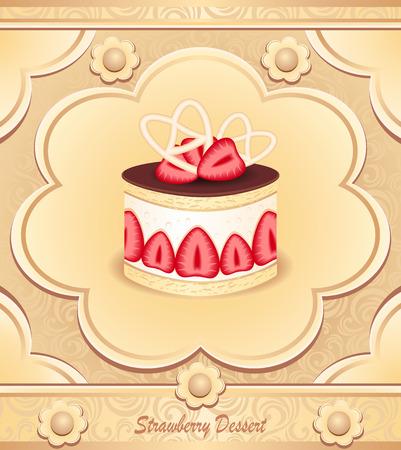 meringue: Strawberry Dessert template  Illustration
