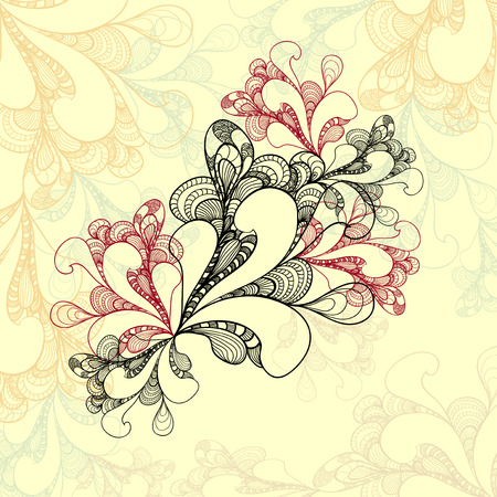 Abstract doodle style background on beige for advertising something or template congratulation or invitation