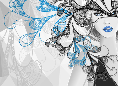 Beautiful silver girl with doodle abstract mask or card of carnival or of celebration or stylish clothes shop Vector