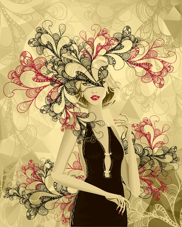 Beautiful gold girl with doodle abstract mask or card of carnival or of celebration or stylish clothes shop Vector