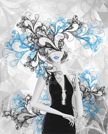Beautiful silver girl with doodle abstract mask or card of carnival or of celebration or stylish clothes shop