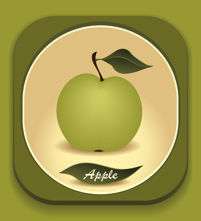 Button with  Green apple and  with leaf  for different things Vector