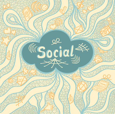 societal: Abstract social cloud in doodle style on beige background for website banners and other things