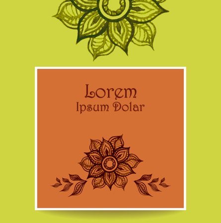 perfumer: Template Banner or flyer or packet with water color abstract flowers in green brown colors. Creative trend vector template.  Hand made doodle style. Illustration