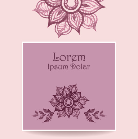 perfumer: Template Banner or flyer or packet with water color abstract flowers in pink lilac colors. Creative trend vector template.  Hand made doodle style.